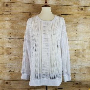 Fabletics White See through Sweater Casual XL Yoga